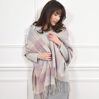 [MONCADA, Moncada Lamb's wool wool 100% check print oversized scarf 60 cm width (WS0022) women's blanket shawl scarf Tartan check scarf giveaway gift