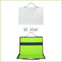 【PROTEX】ブリーフケース/MacBookケースbit(ビット)シルバー×ライトグリーン