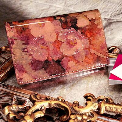 【FRUTTI】絵画のようなレザーで仕立てる名刺ケースJolly Alice(ジョリー アリス)名刺入れ レディース エナメル ピンク 花柄