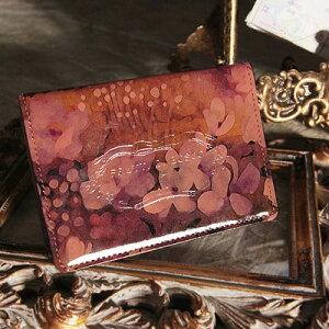 パスケース 定期入れ ピンク エナメル【FRUTTI】絵画のようなレザーで仕立てるパスケースVia...