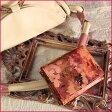 【FRUTTI】絵画のような特注レザーで仕立てるミニウォレット♪パーティーバッグに合わせたいVirola Alice (ヴィローラ アリス)ミニ財布 本革 レザー ピンク 花柄 三つ折財布 極小財布 パーティー財布