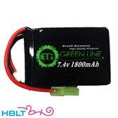【ET1】バッテリー LIPO G 7.4v 1800mAh グリーンライン(PEQ)|ETG218/ET-1/リポ/Battery/充電式/電池