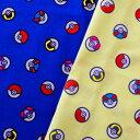 [数量5個から承ります] ポケモン モンスターボール柄 シーチング生地 約106cm幅×10cm単位計り売り| ポケットモンスター ピカチュウ コットン プリント 通園 通学 入園 入学 レッスンバッグ 巾着 キッズ キャラクター 手芸 ハンドメイド