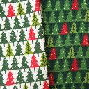 [数量5個から承ります] 在庫限り特価 クリスマスプリント ツリーボーダー柄 スケア生地 日本製 約108cm幅×10cm単位計り売り【オフ完売】| コットン プリント 布 ツリー 森 木 冬 もみの木 オーナメント タペストリー パッチワーク キルト ハンドメイド 手芸 手作り