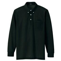 アイトス 長袖ボタンダウンポロシャツ(男女兼用) カラー:ブラック サイズ:L (ボタンダウンナガソデポロ) [7616ー010]