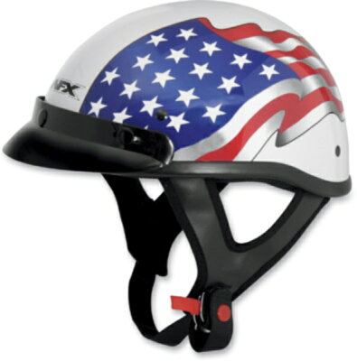 【AFX】FX-70 ハーフヘルメット フリーダムフラッグ パールホワイトharley ハーレー