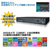 防犯カメラAHD1080P対応録画機AHD対応レコーダーCK-DVR9824(2TB)