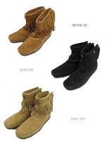 MINNETONKA/ミネトンカBackzipbootsバックジップブーツ3colors(3色展開)(292-299-297T)レディースモカシンシューズネイティブフリンジスエードアメリカンバックジップ