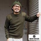 HOUSTONヒューストンCOMMANDSWEATER2160ニットセーターメンズミリタリー大きめ大きいサイズクルーネッククルーネックニットセータークルーネックニットハンドニットカウチン長袖長袖ニットオリーブブラック黒ネイビー紺無地シンプル