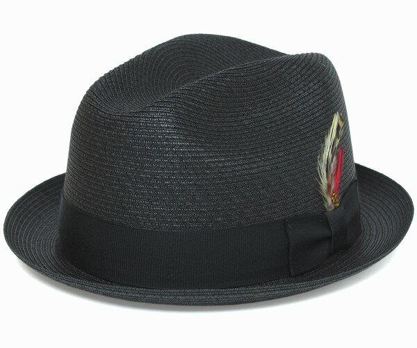 メンズ帽子, 麦わら帽子  NEWYORKHAT 2327 SEWN STINGY FEDORA, Black - NEW YORK HAT