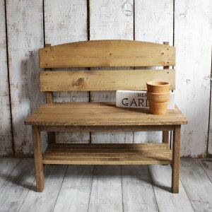 (エントリーでポイント10倍) ベンチ 木製 チェア 椅子 玄関 ガーデンベンチ おしゃれ 棚板付き パイン材 全2色