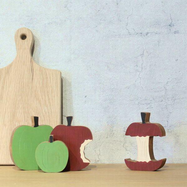 りんご リンゴ オブジェ 北欧 木製 置物 おしゃれ 送料無料 フルーツ 果物 アップル 可愛い インスタ映え