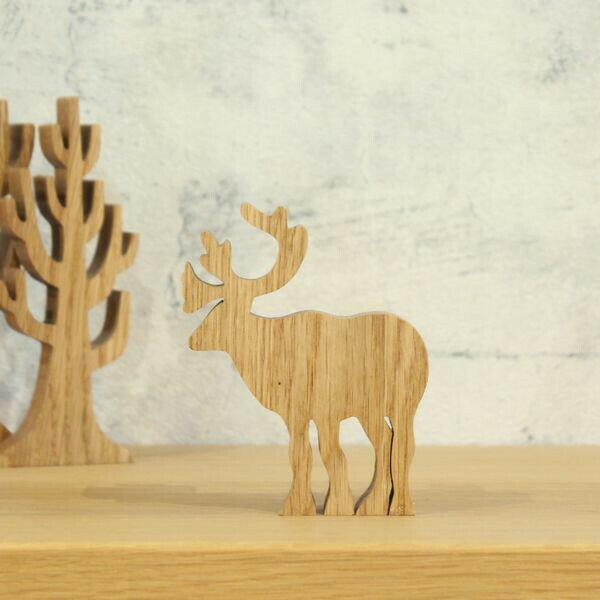 トナカイ オーク材 クリスマス 飾り 木製 オブジェ 北欧 おしゃれ 置物送料無料 北欧雑貨 冬