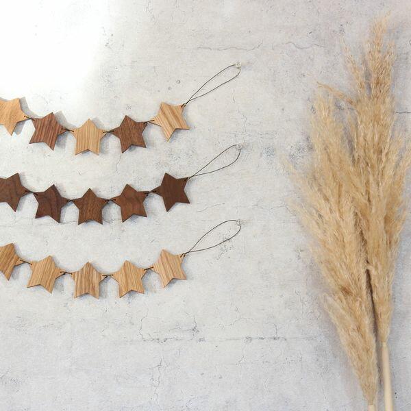 スター ガーランド 星 クリスマス 飾り 木製 インテリア 北欧 オーナメント 壁飾り 星 おしゃれ 木製 (全3種類) 送料無料 ウォールデコ インスタ映え