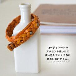 レザーブレス三つ編みc/ca小物/アクセサリー/ブレスレット【HEARTMARKET・ハートマーケット】