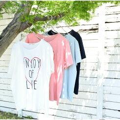 ビッグハートPtゆったりTeeレディース/トップス/Tシャツ/Tee/BIG/プリント/フリー/刺繍/ハート/夏【HEARTMARKET・ハートマーケット】