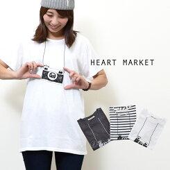 カメラプリント半袖チュニックレディース/トップス/チュニック/ボーダー/Tシャツ/フリーサイズ【HEARTMARKET・ハートマーケット】