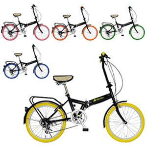 送料無料【MIWA20インチ折りたたみ自転車FD1B-206】個性豊かな20インチのカラータイヤ折りたたみ自転車が新登場!