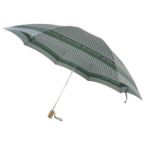 日本の職人手作り千鳥格子二段式折りたたみ傘緑(グリーン)CMC102B