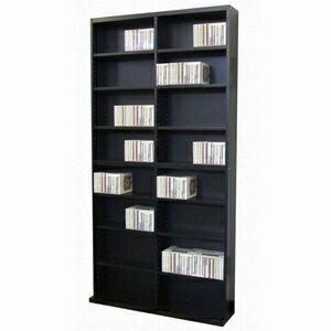 CD&DVDラック 幅90cm×奥行17.5cm×高さ180cm 可動棚16枚付き 〔本/CD/DVD収納〕 DUCD-720BK ブラック(黒) 軽くて丈夫な木製の大容量DVD&CD収納棚