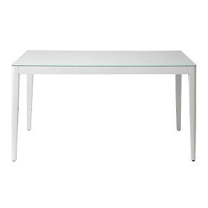 あずま工芸ダイニングテーブル幅135cmガラス天板ホワイト【2梱包】GDT-7671