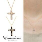 Enasoluna(エナソルーナ)Light And Shadow necklace 【NK-728】ダイヤモンド ダイヤ ダイア オニキス リバーシブル イエローゴールド K10YG クロス ネックレス