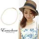 Enasoluna(エナソルーナ) Little Girl Pearl necklace【NK-760】 淡水パール ネックレス キュービックジルコニア 真珠 リボン シルバー パール