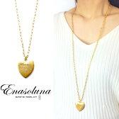 Enasoluna(エナソルーナ)Message in a heart necklace 【NK-976】イエローゴールド ネックレス ハート ロング ゴールド