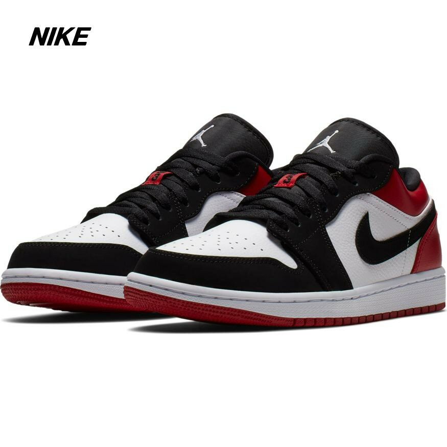 メンズ靴, スニーカー 9.5 (27.5cm) NIKE AIR JORDAN 1 LOW 1 BLACK TOE WHITEBLACK-GYM RED 553558-116