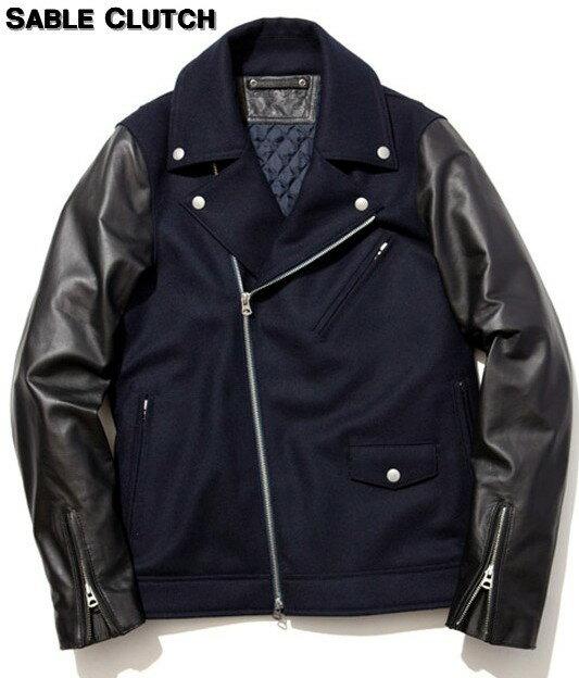 メンズファッション, コート・ジャケット S NAVYSABLE CLUTCH MELTON COMBI W RIDERS JACKET- Thinsulate W- SC53-002