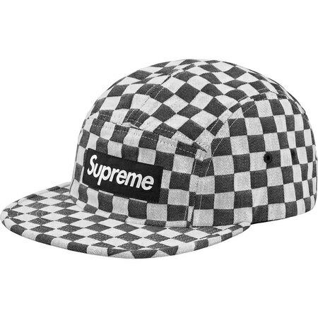 メンズ帽子, キャップ Black Supreme 18SS Checkerboard Camp Cap BOX LOGO