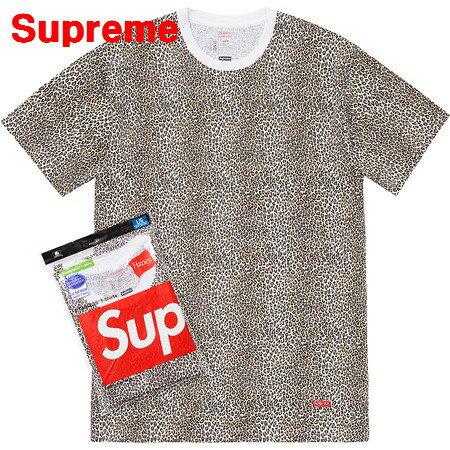 トップス, Tシャツ・カットソー L Supreme x Hanes 19SS Leopard Tagless Tees x T 2019ss
