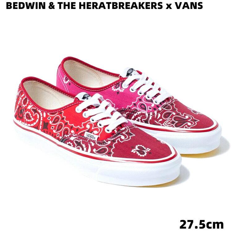 メンズ靴, スニーカー US9.5(27.5cm)VANS Og Authentic Lx (BdwnThrbrkr)Bdnmltclrc VN0A4BV99RA RED BEDWIN THE HEARTBREAKERS