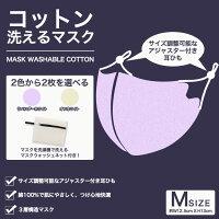 【送料無料マスクウォシュネット付き!】コットン洗えるマスク2色から2枚を選べるMサイズ大人用W12.5cmxH13cm三層構造不織布フィルターウィルス花粉対策PM2.5白国内発送