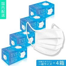不織布マスク一般サイズ50枚入ホワイト10枚ずつ個包装