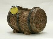 【置物ポット】樽型ポット小鳥[g1.2]