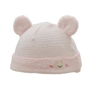 6a5c14c969c2e 新生児ウェア mikiHOUSE(ミキハウス) 耳付き無撚糸パイルのベビーフード(帽子) ピンク コンビニ受取対応商品  ふんわりやわらかで軽やかな 無撚糸パイル素材のベビー ...