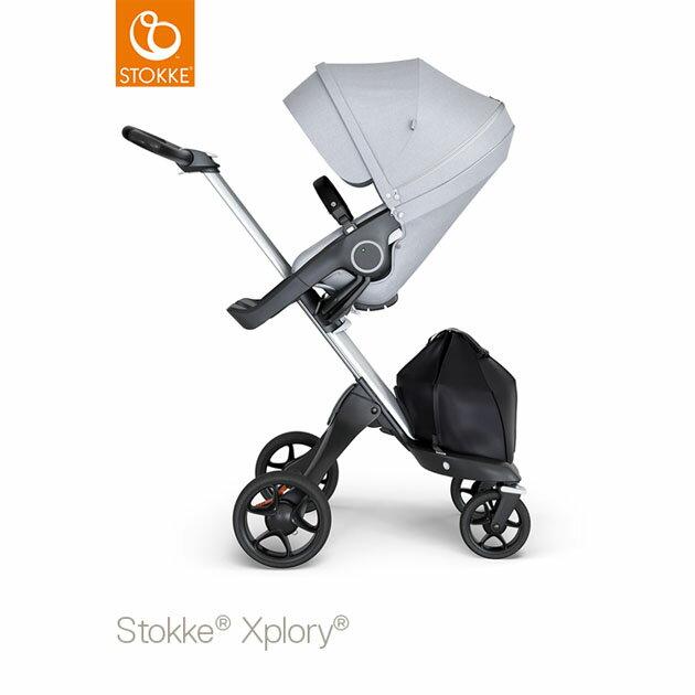 ベビーカー Stokke Xplory V6(ストッケ エクスプローリー) シルバーシャーシ ブラックハンドル×クラシックシート グレーメラーンジ