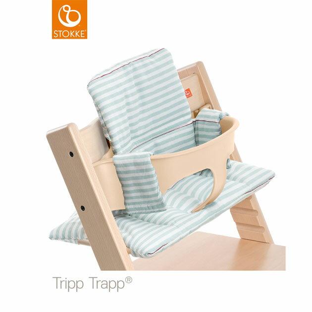 【】ベビーチェアオプション Stokke Tripp Trapp Cushion(ストッケ トリップ トラップ クッション撥水) アクアストライプ【コンビニ受取対応商品】
