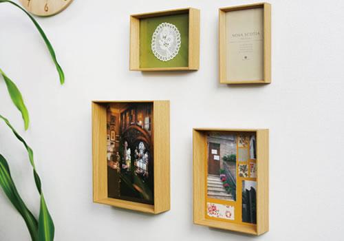 4つのサイズが入ったフォトフレーム 写真立て スタンド・壁掛け兼用 スタイリッシュでシンプルなフォルムのフォトフレーム NOVA SCOTIA ノヴァスコティア(ナチュラル)