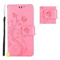 iPhoneXiPhone8XperiaXZ1用大人かわいい花と蝶柄スマホケース