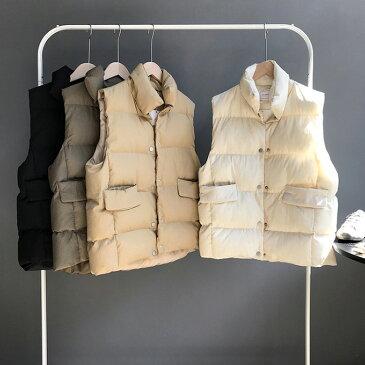 中綿 ベストレディース 中綿ベスト スタンド ダウンベスト 前開き 厚て レディース 女性用 レディース ノースリーブ ジャケット 軽量 スタンドカラー 無地 防寒 アウター ミディアム