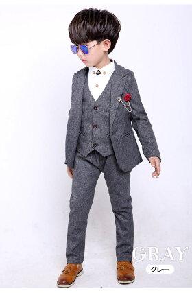 子供スーツ/お得なスーツ6点セット男の子子供スーツ男の子フォーマルタキシード入園式/卒業式/入学式/卒業式/七五三/結婚式/発表会/演奏会/お呼ばれフォーマル男の子90〜150cmネイビー/グレー