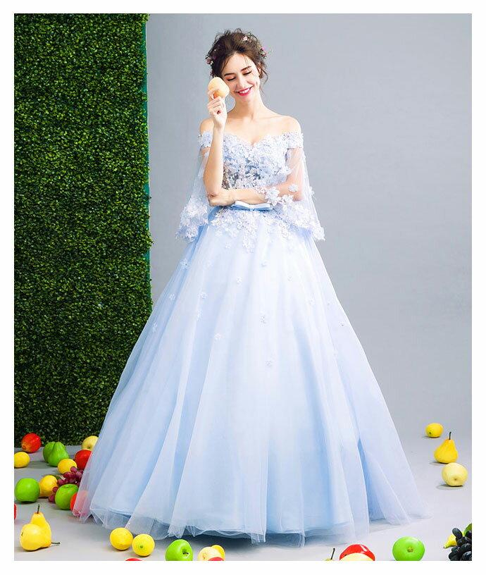【再入荷】高品質 カラードレス 2点セット パニエ付き ウエディングドレス ロングドレス パーティードレス 豪華 花嫁 礼服 結婚式 披露宴 謝恩会 二次会ドレス 162338