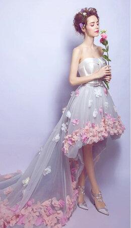 花柄セクシー美脚ウエディングドレスカラードレス可愛いロングドレスパーティードレス礼服姫系ドレスお花嫁ドレス刺繍フリル豪華イベント結婚式リボンドレス162178
