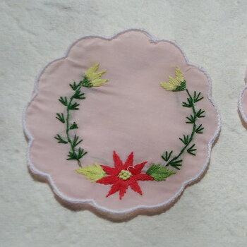 ベトナム製手刺繍コースター6枚セットO