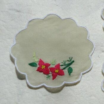 ベトナム製手刺繍コースター6枚セットP