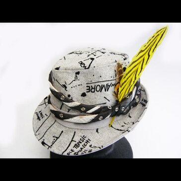 【送料無料】【一点物・オリジナル】ロゴ☆革☆羽根つき中折れ帽子【グレー】
