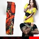 タトゥー柄がプリントされた御洒落なアームカバーです。真っ赤な鳳凰のインパクトのあるデザインのTATOO SLEEVE.。【メール便可1】☆タトゥーアームカ