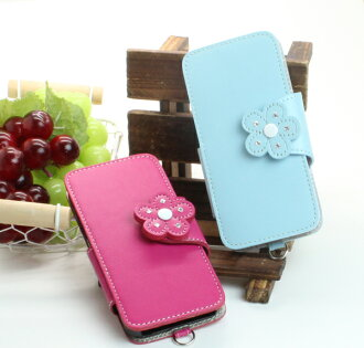 ☆ leather cover case opens next handbook-Smart Touch clamp fixture magnet camera perforated leather / flower